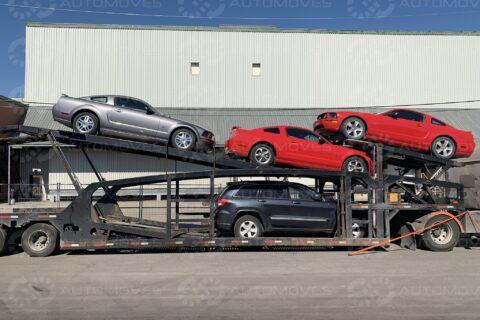 Car Hauler Transporting Mustangs